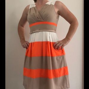 New Directions Ivory Tan Orange Dress